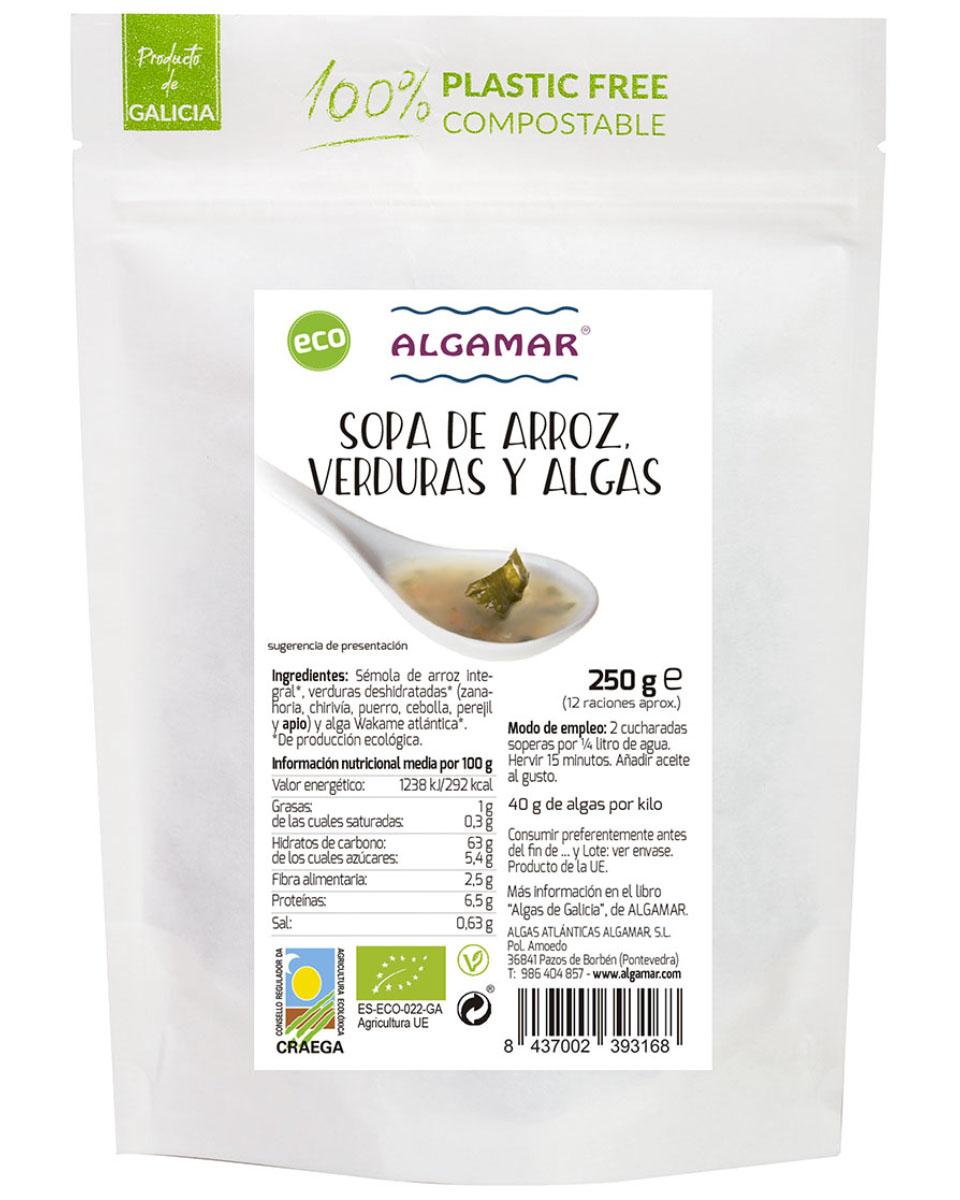 SOPA DE ARROZ, VERDURAS Y ALGAS ALGAMAR